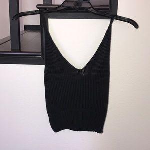 Tops - Black Crochet Crop Tank